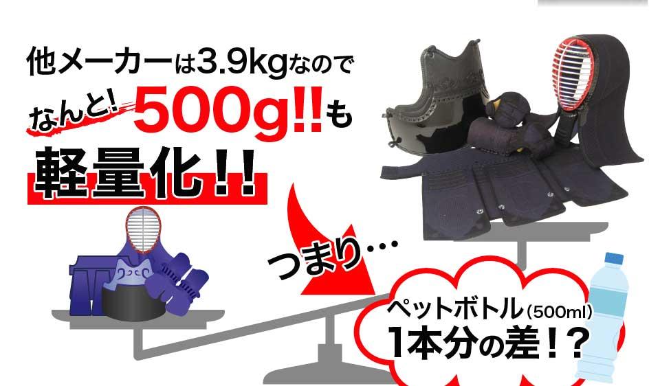 他メーカーは3.9kgなので500gも軽量化。つまりペットボトル(500ml)1本分の差